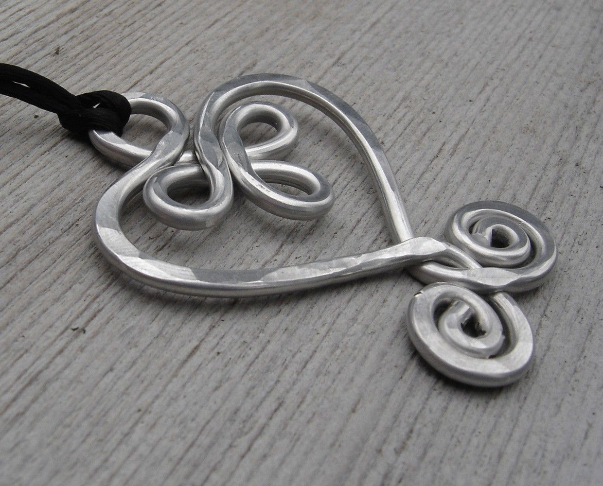 Big Celtic Heart Pendant, Aluminum Large Heart Necklace, Statement ...