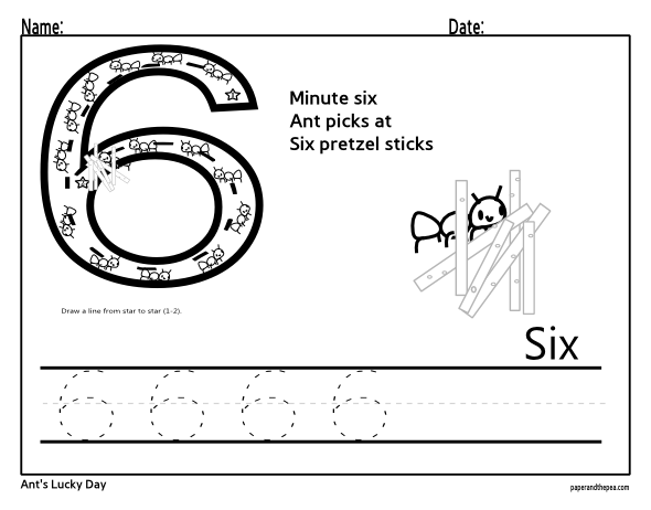Tracing Number Six Worksheet Math Concepts Pinterest
