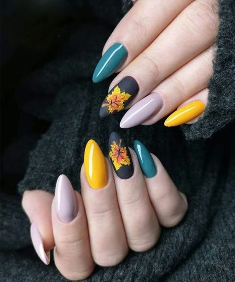 25 Leaf Nail Art Designs To Try This Fall With Images Autumn Nails Classy Nails Yellow Nails