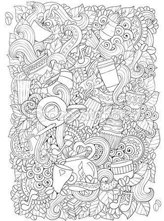 Café y té doodle fondo de vector con paisley. Zentangle étnica ...