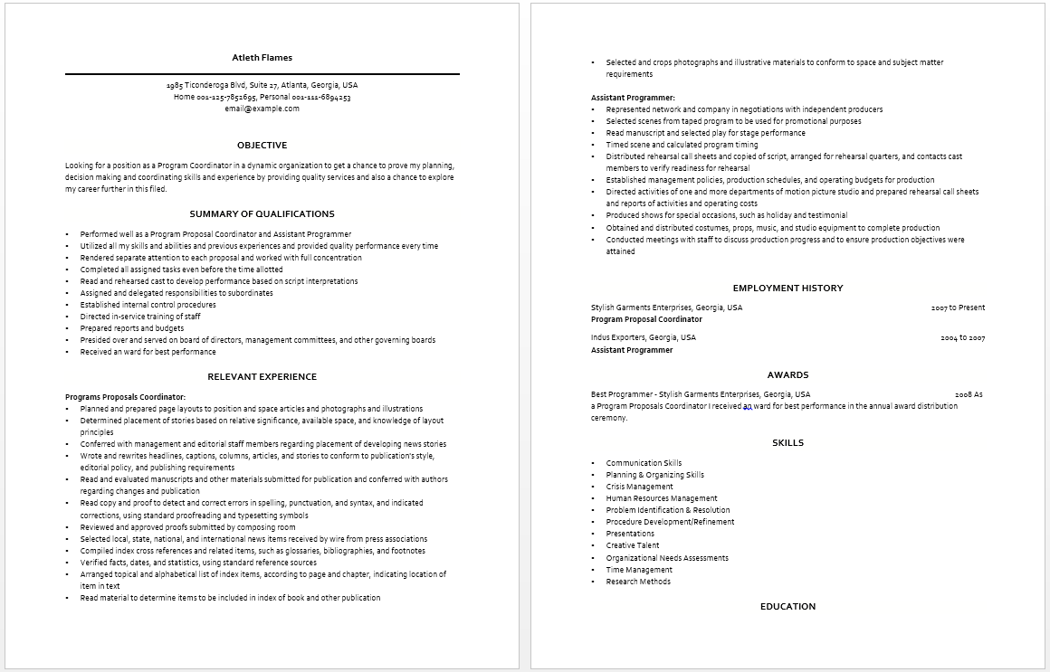 Program Coordinator Resume  Resume  Job