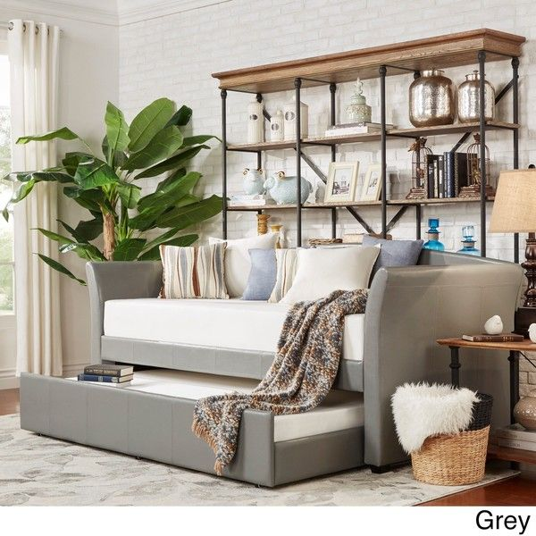 Deco Faux Leather Daybed and Trundle by Inspire Q ($411) ❤ liked on