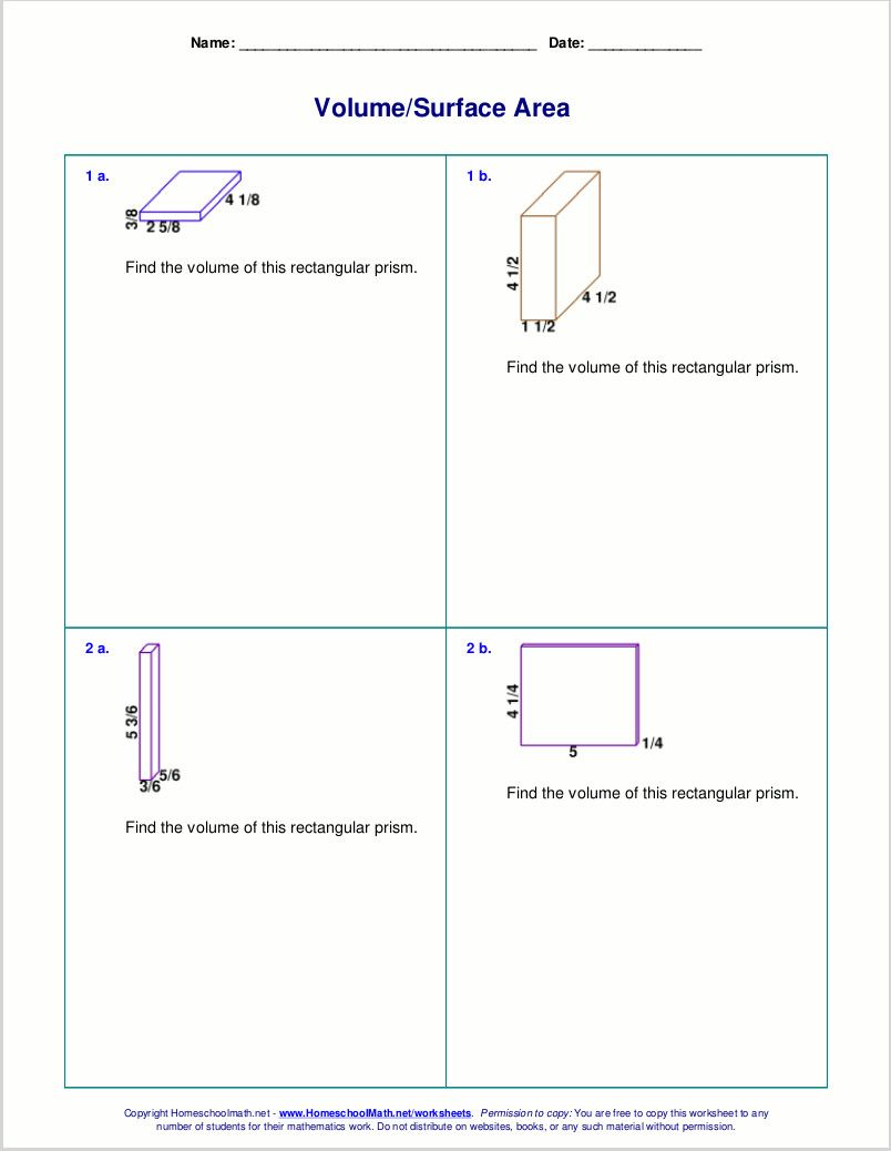 5 Worksheet Math Fractions Worksheets 6th Grade Free Worksheets For The Volume And Surface Ar In 2020 Free Math Worksheets Math Worksheets Math Fractions Worksheets
