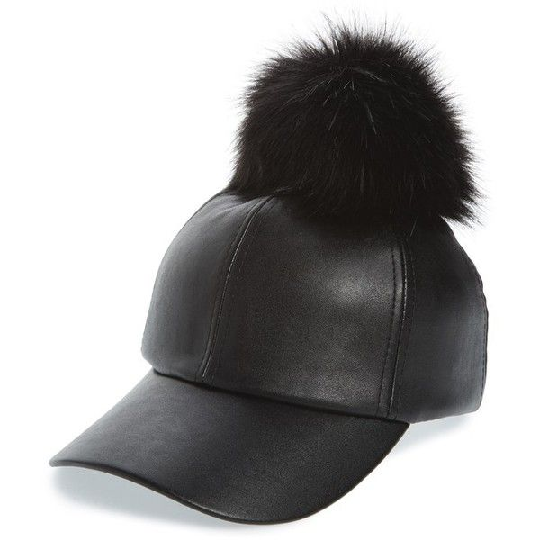 a297367b123 Women s Evelyn K Faux Leather Cap With Faux Fur Pompom ( 34) ❤ liked on  Polyvore featuring accessories