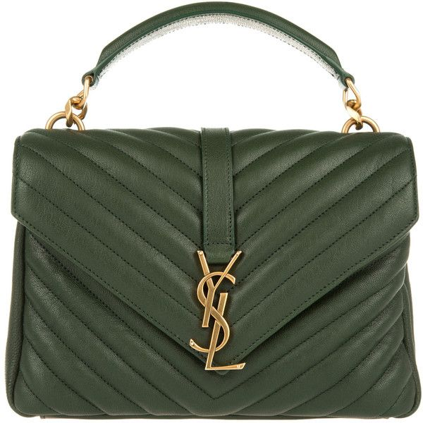 Saint Laurent Ysl Monogramme Md College Bag Green 1 845 Liked On Polyvore Featuring Bags Ha Green Leather Handbag Saint Laurent Handbags Mens Leather Bag