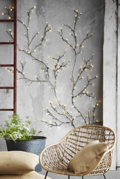 These magical lights are made of floral-tape-wrapped wire featuring tiny bright bulbs throughout. The flexible wire allows you to place them up on any wall ins