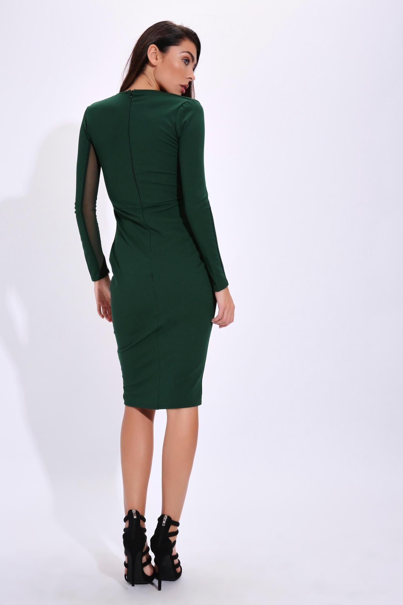 ecc328a053 Dark Green Plunge Neck Long Sheer Sleeve Bodycon Dress   bodycondresslongsleeve