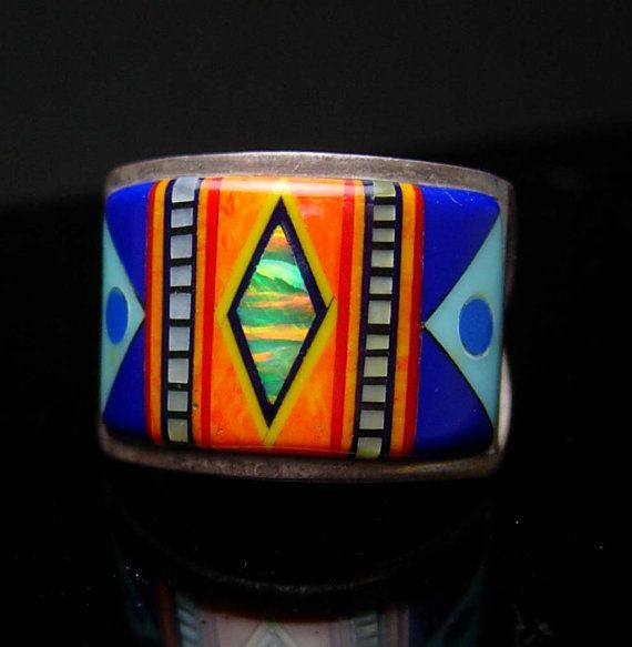 Opal mosaic Indian Ring Native American by NeatstuffAntiques