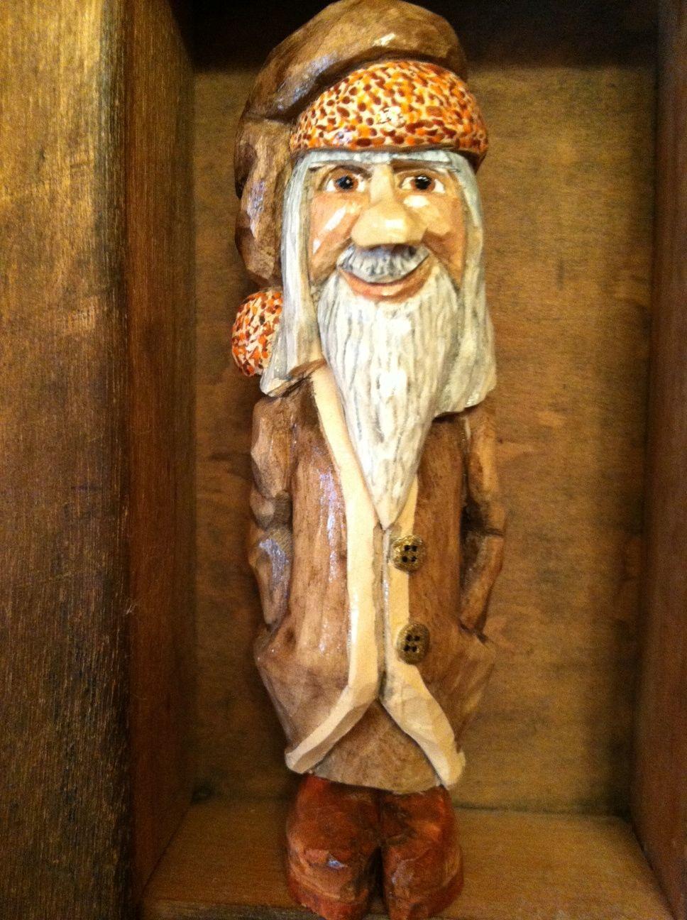 Fall Santa hand carved