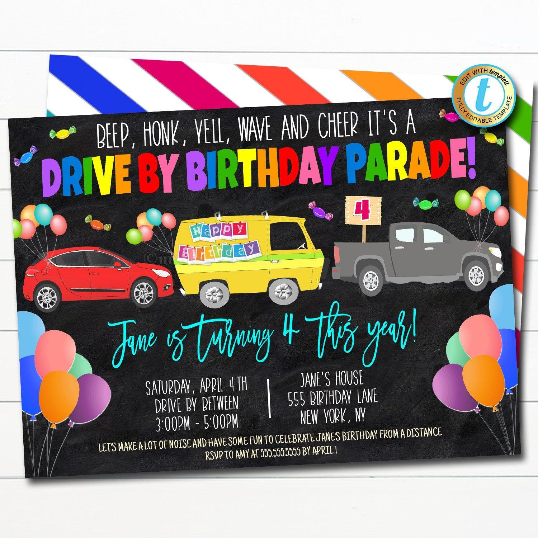 Drive By Birthday Parade Invitation Virtual Birthday Party Etsy Party Invite Template Party Invitations Birthday