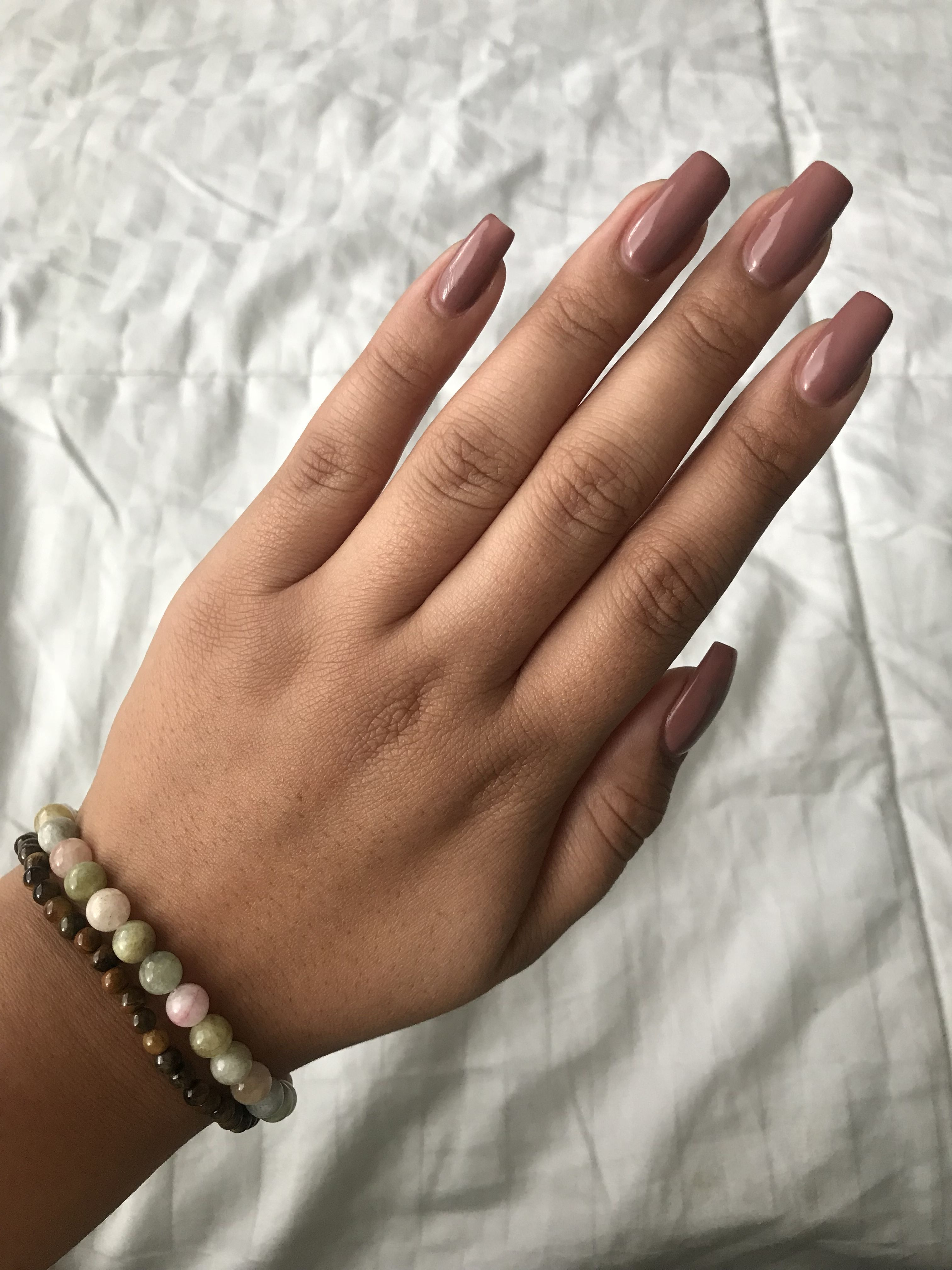 Acrylic nails opi color butternut squash no chip nails