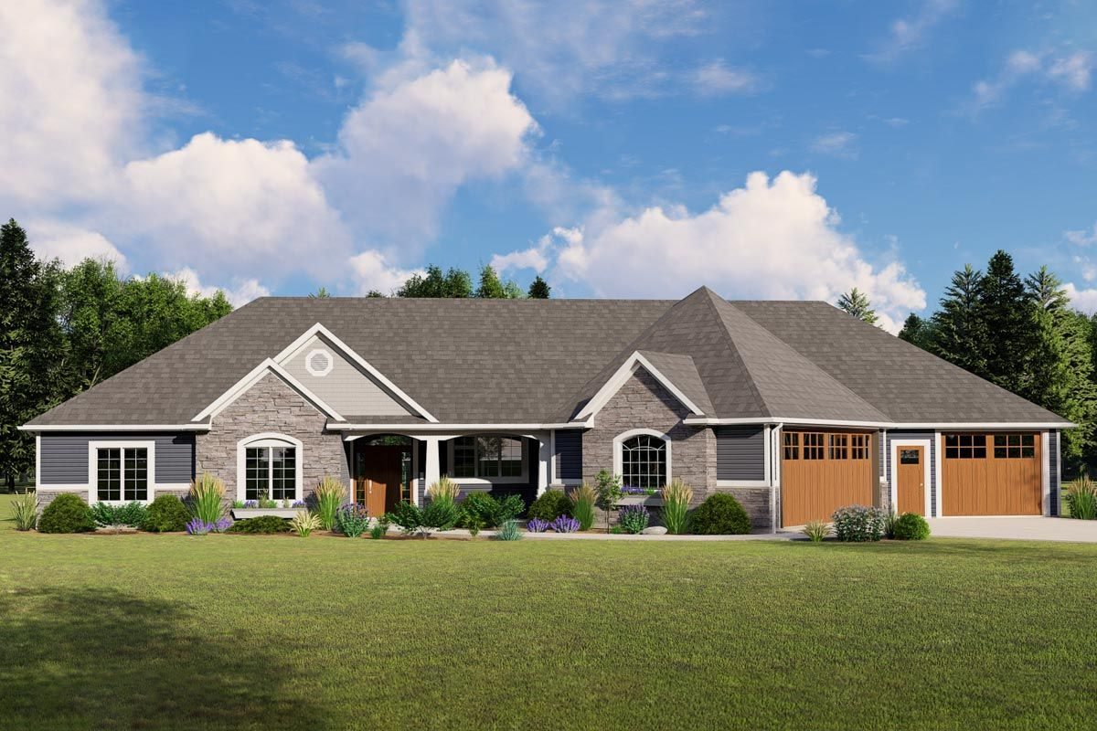 3 Bed Ranch Home Plan with Game Room