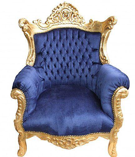 Casa Padrino Barock Sessel \u0027Al Capone\u0027 Royablau/Gold - Antik Stil