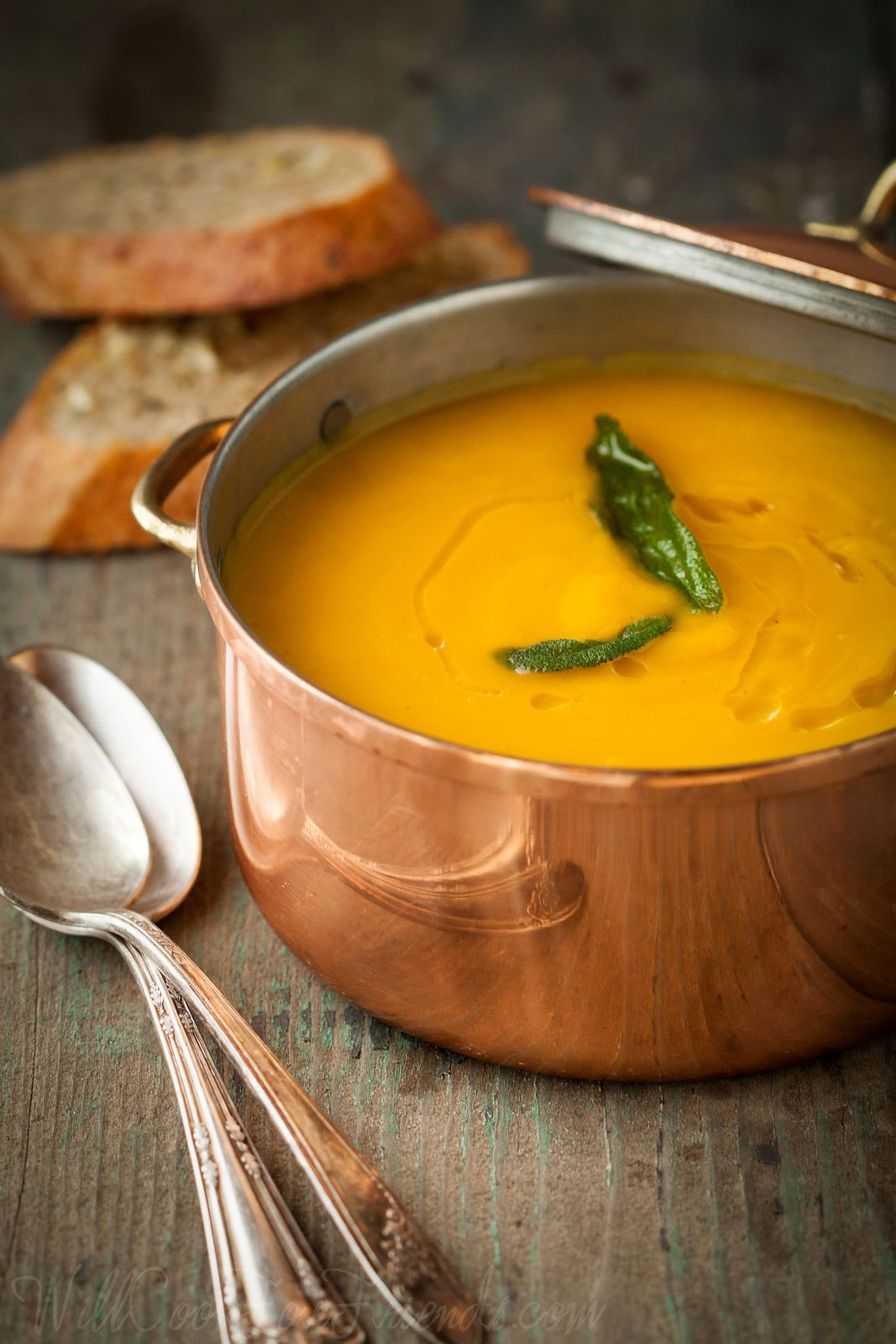 Roasted butternut squash soup with sage (vegan and gluten-free).