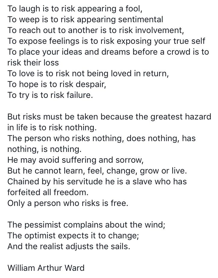 Only a person who risks is free  The pessimist complains about the