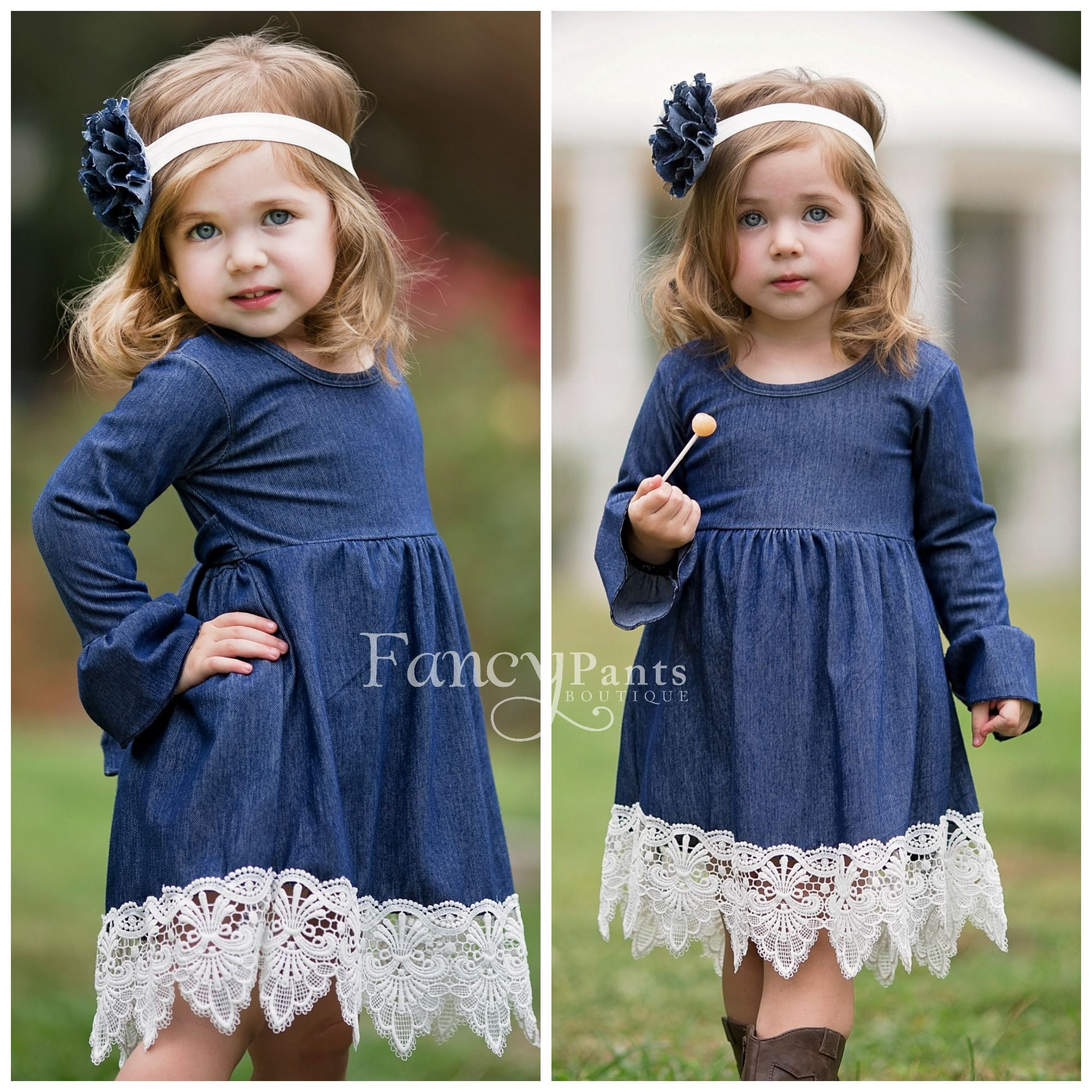 Dress for barn wedding  Country Flower girl dress girls denim dress baby denim dress jean