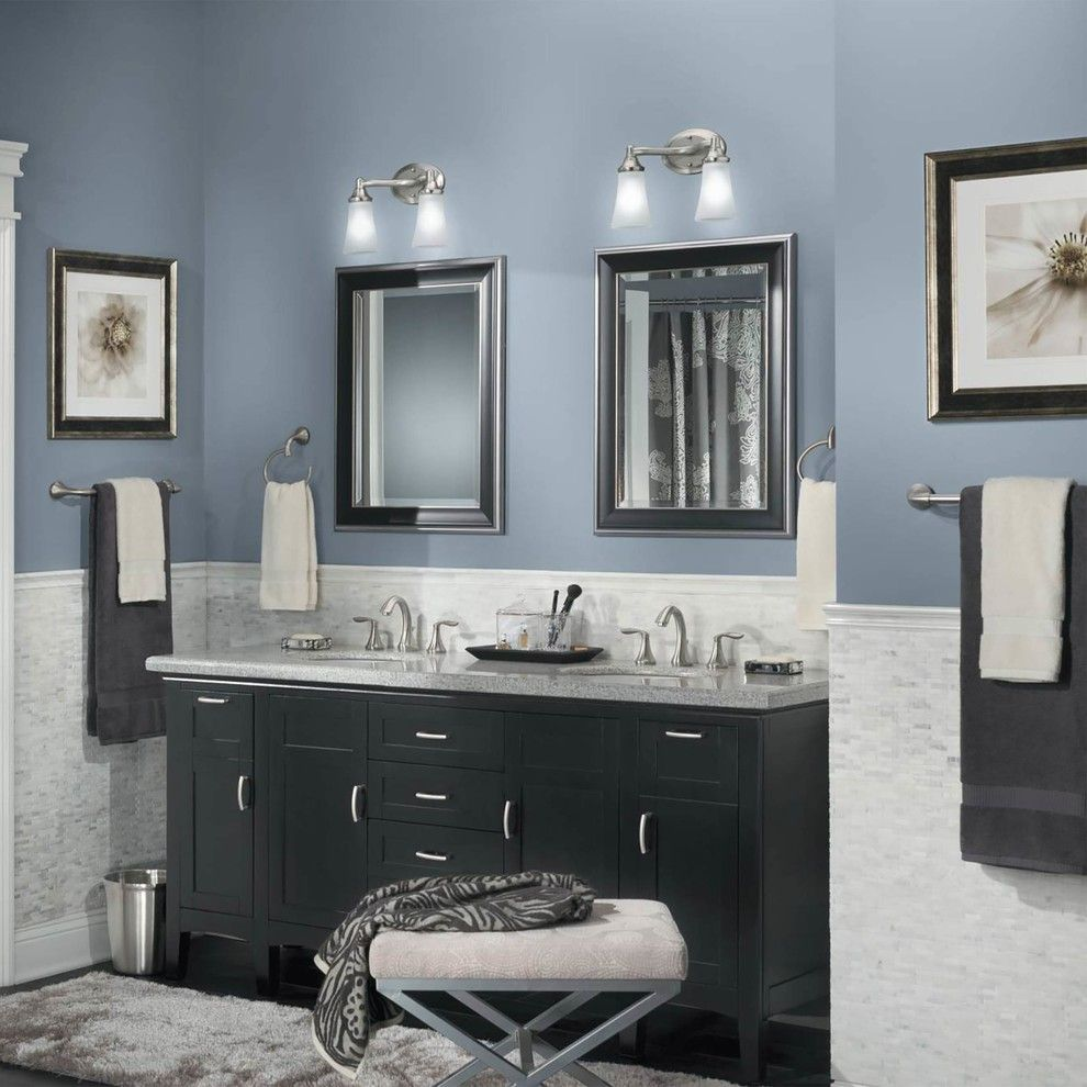 Paint Colors Contemporary Bathroom With Double Vanity In. Best Gray Blue Paint For Bathroom   Fleurdelissf