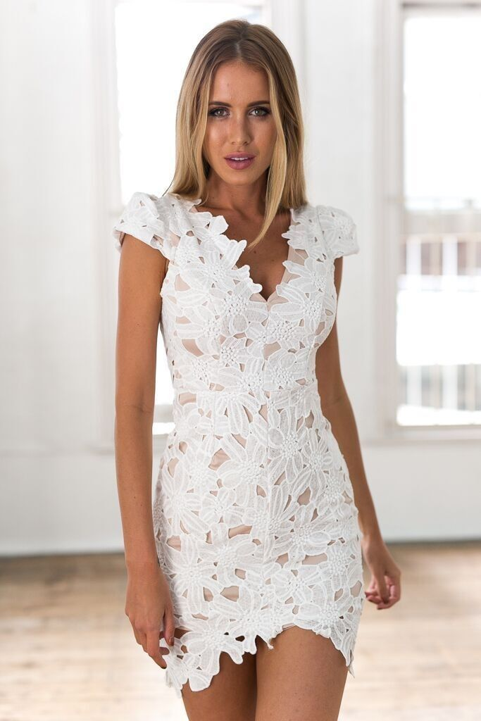 White Crochet V-Neckline Mini Dress | Shorts, Minis and Heres