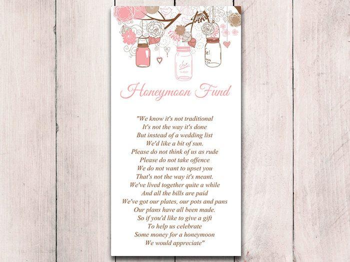 Mason Jar Wedding Honeymoon Fund Card Template Rustic Wedding Invitation Insert Blush Wedding C Wedding Invitation Inserts Card Box Wedding Mason Jar Wedding