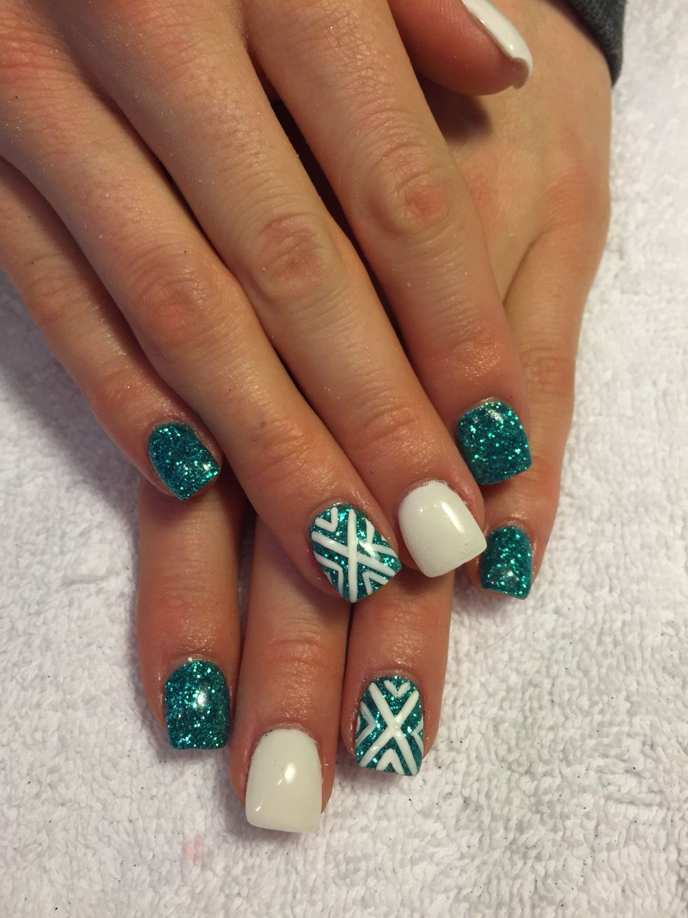 Teal gel nails