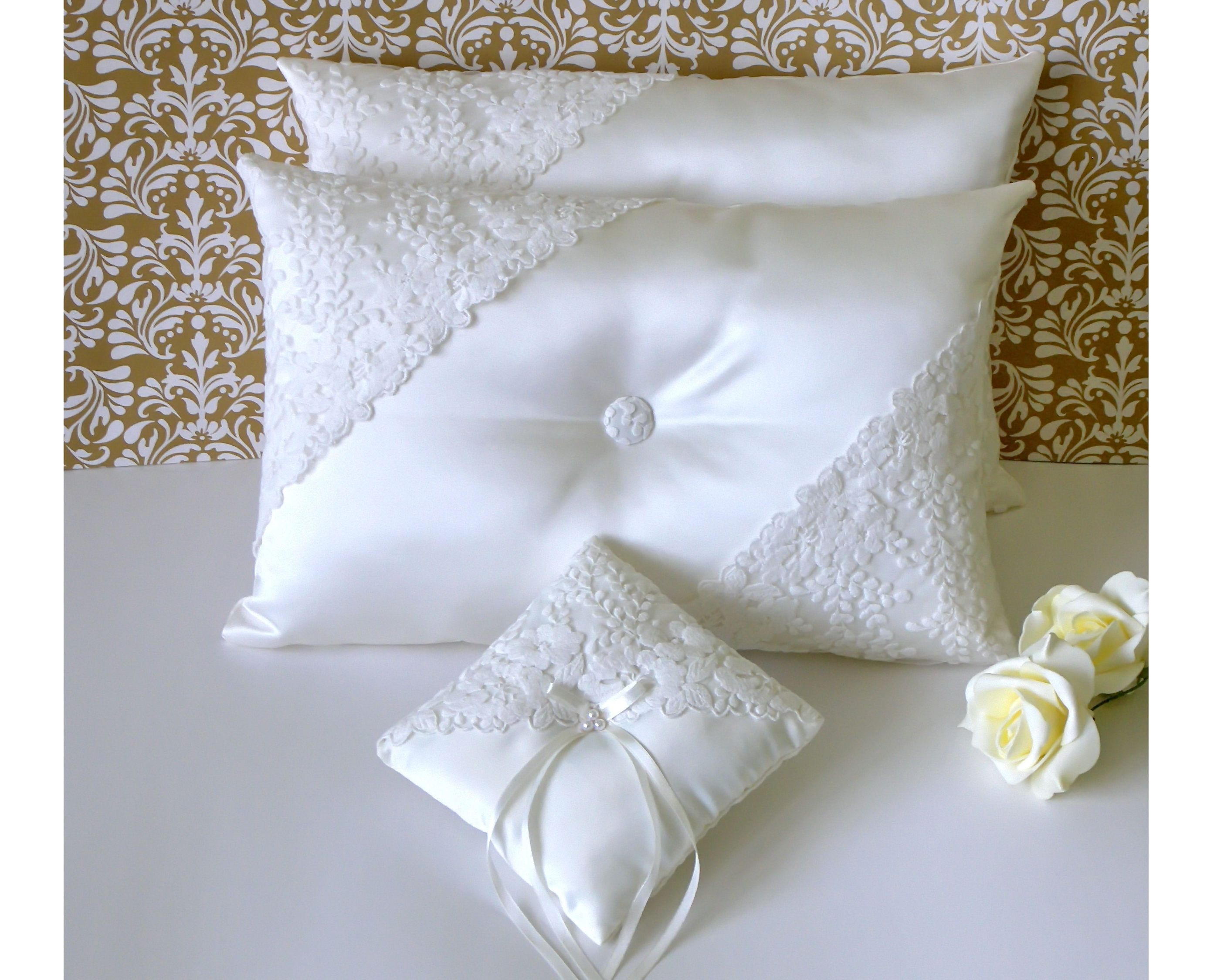 Set Of Ivory Wedding Kneeling Pillows And A Matching Ring Pillow Decorated With Embroidered Lace