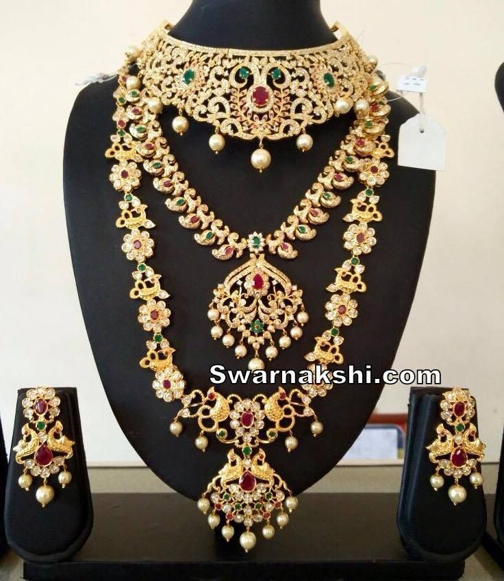 Cz 1 Gram Gold Necklace Set For More Visit Www Swarnakshi Com Inbox Us Or Whatsapp To 09581193795 To Gold Necklace Set Fine Gold Jewelry Jewelry Patterns