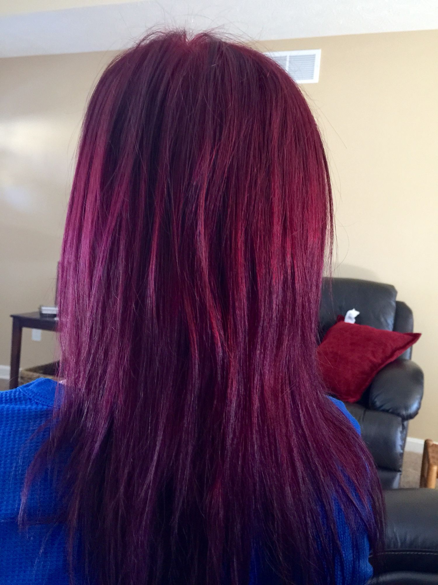 My Hair I Mixed Manic Panic Vampire Red Purple Haze Burgundyhair Purplehair Redhair Dyed Hair Purple Burgundy Hair Red Purple Hair