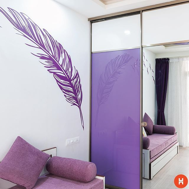 Ms. Veena Niranjan's home, Bengaluru. Designer: Shilpa Soti. The kid wanted the theme to be purple, so we designed an Armadio wardrobe with lavender lacquered glass. The mirror and white laminates make the room appear larger. #WeHeartDeadlines #homesweethome #homeinteriors #homesofinstagram #design #architecture #lifestyle #life #beauty #decor #photography #lifestyleblogging #photographyblogs #ideas #interiordesigners #india #colourlover #colours #bedroom #kitchen #bathroom #living…