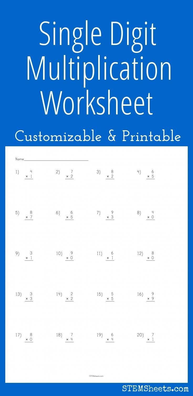 Single Digit Multiplication Worksheet - Customizable and Printable ...