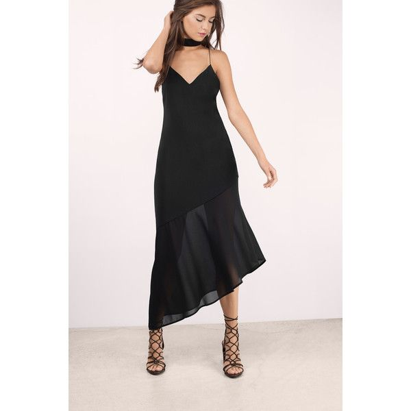 Tobi Two Of A Kind Midi Dress ($74) ❤ liked on Polyvore featuring dresses, black, tobi dresses, asymmetrical hem maxi dress, midi dresses, midi maxi dress and maxi length dresses