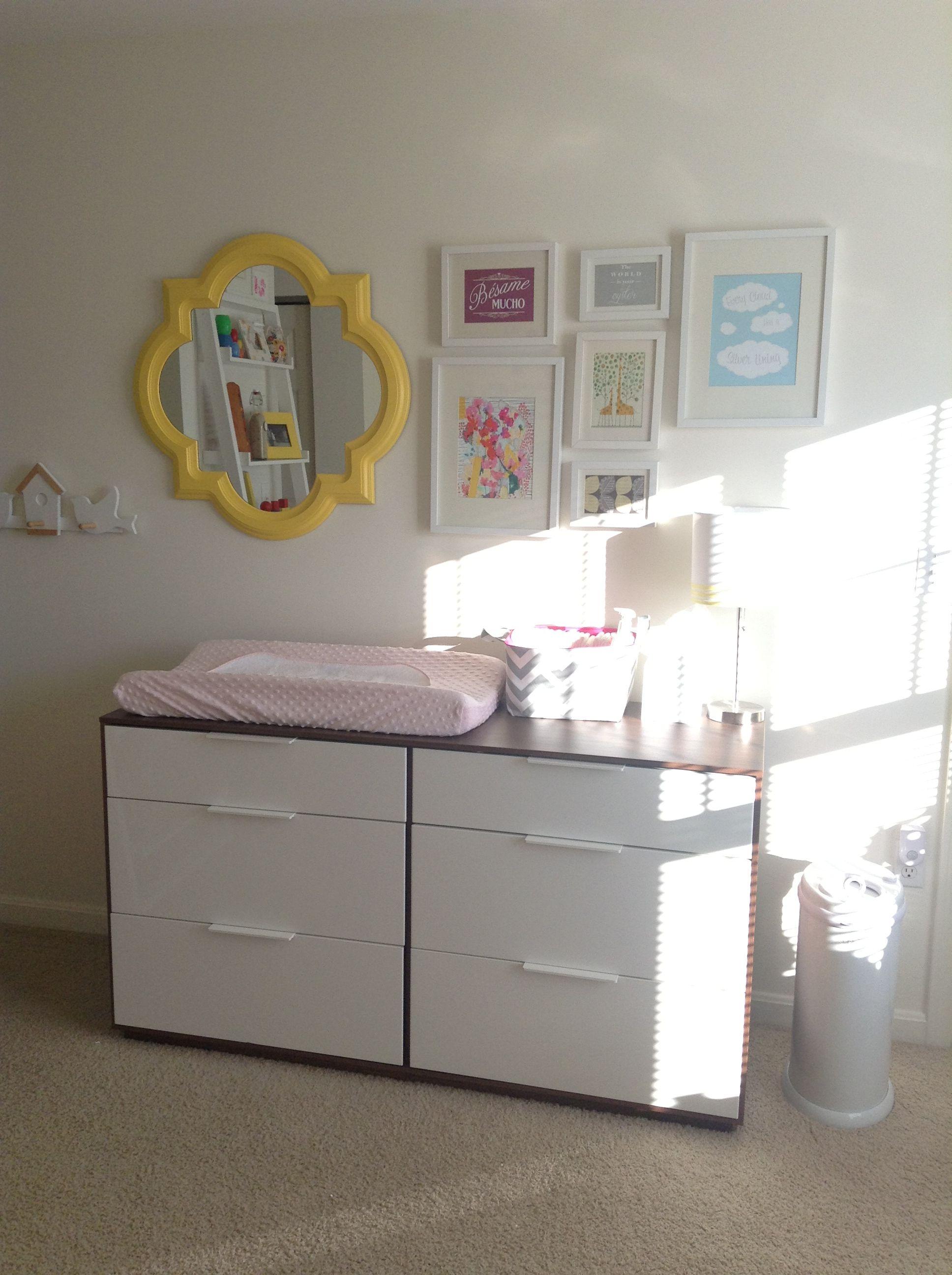 Tessa's modern nursery  Ikea Ribba frames  Art from Etsy or DIY