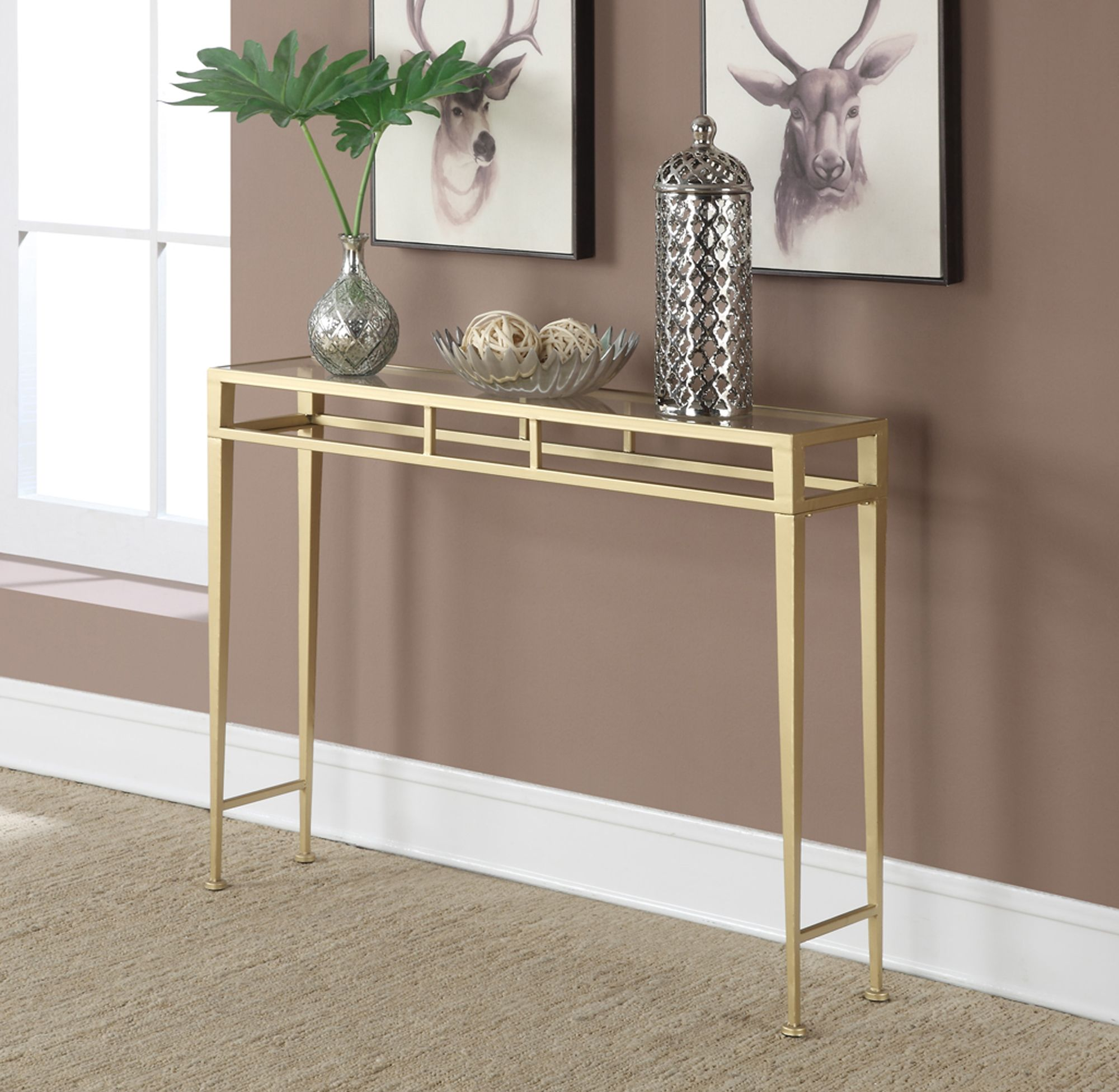 Convenience Concepts Gold Coast Julia Hall Console Table Silver Hall Console Table Console Table Hallway Console Table Decorating