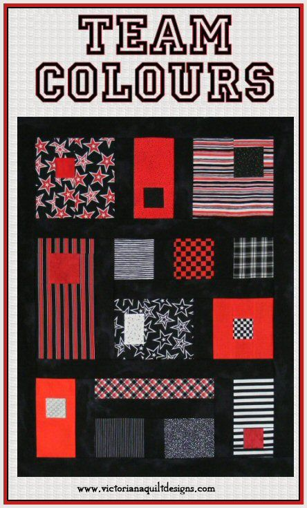 This Team Colours quilt pattern has instructions in 3 sizes ~ Make it a wallhanging, lap quilt or full size quilt. A quick & easy quilt for the Sports Fan you love! http://www.victorianaquiltdesigns.com/VictorianaQuilters/PatternPage/TeamColours/TeamColoursQuiltPattern.htm ~This quilt would look great in any Team Colours~ #quilting #sports