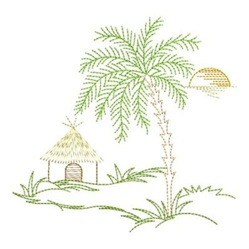 Beach Hut Machine Embroidery Design: Embroidery Designs, Machine
