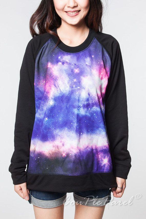 ce4fece81c86 Galaxy Sweater Pink Violet Star Amber Nebula Long Sleeve Sweatshirt Jumper  Women T-Shirt Black Tees Shirts Unisex Size M L on Etsy