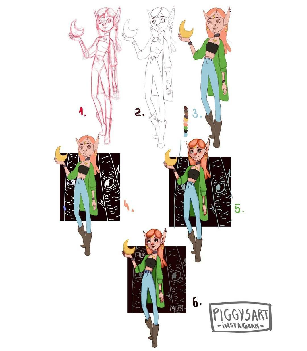piggysart instagram facebook evolution girl Ayker illustration drawing inktober halloween