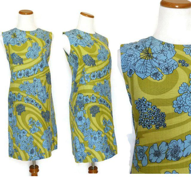 60s Shift Dress / Linen Dress / Hawaiian Dress / Tropical Dress / Green Floral Dress / Mod Dress / 60s Dress / Blue Floral Dress / by GoodLuxeVintage on Etsy