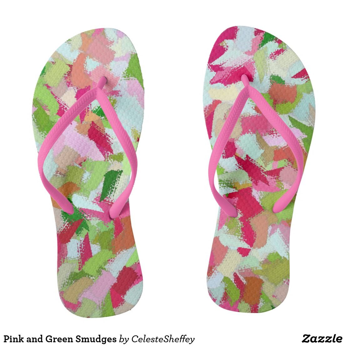 Pink and Green Smudges Flip Flops