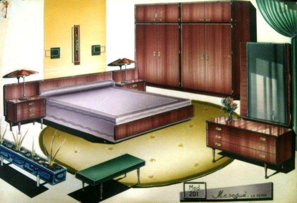 Boceto del dormitorio nº 201, perteneciente al fabricante de La ...