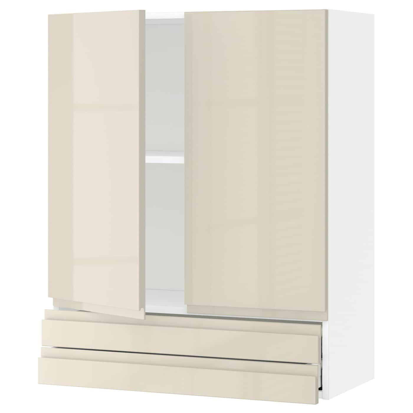 METOD / MAXIMERA Wandschrank mit 2 Türen/2 Schubl. – weiß/Vo…