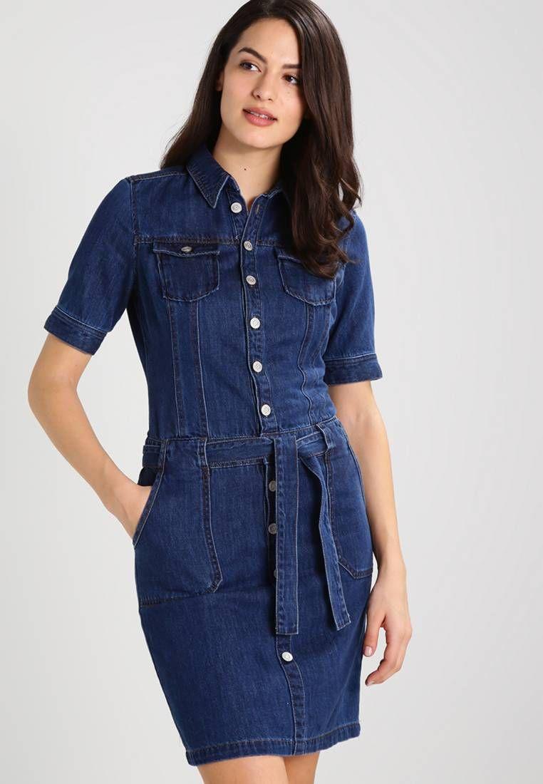 new concept c54cb d6cbe Vestito di jeans - blue denim. Lunghezza:Corto. Chiusura ...