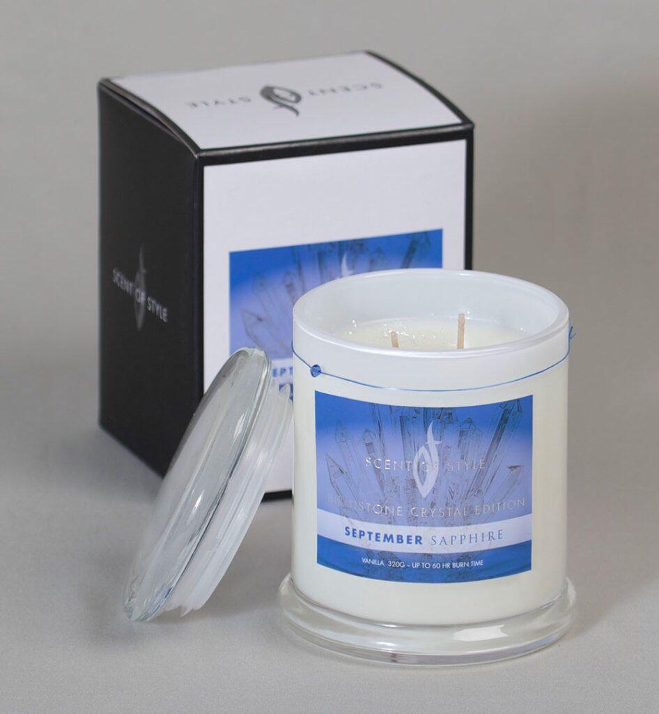 #happybirthday #virgo September #sapphire #birthstone #candles #scentedcandles #vanilla #swarovski #scentofstyle