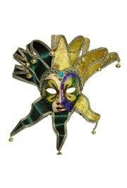 Purple, Green and Gold Venetian Jester Masquerade Mask