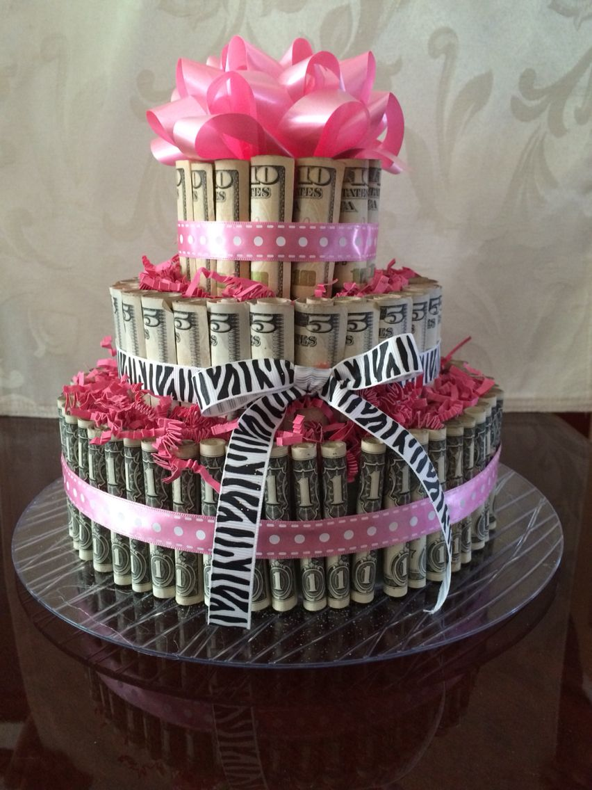 21st birthday money cake for my daughter pinteres - Money cake decorations ...