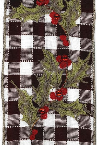 dupioni embroidered holly with jewels, black/white/red Products
