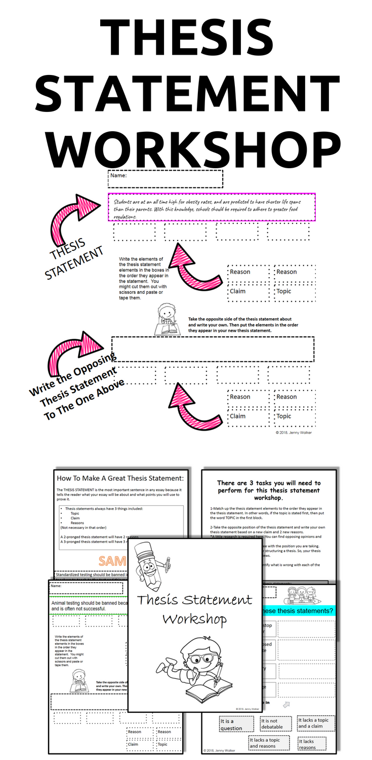 Thesis Statement Workshop Printable Thesis Statement Worksheets  Take The Fast Track To Teaching Thesis Statement For Argumentative Essay  Writing In This Fun Engaging And Differentiated Handson Activity