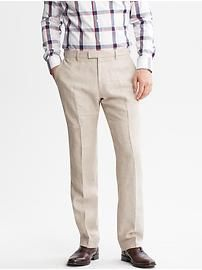 Tailored Slim-Fit Textured Linen Trouser