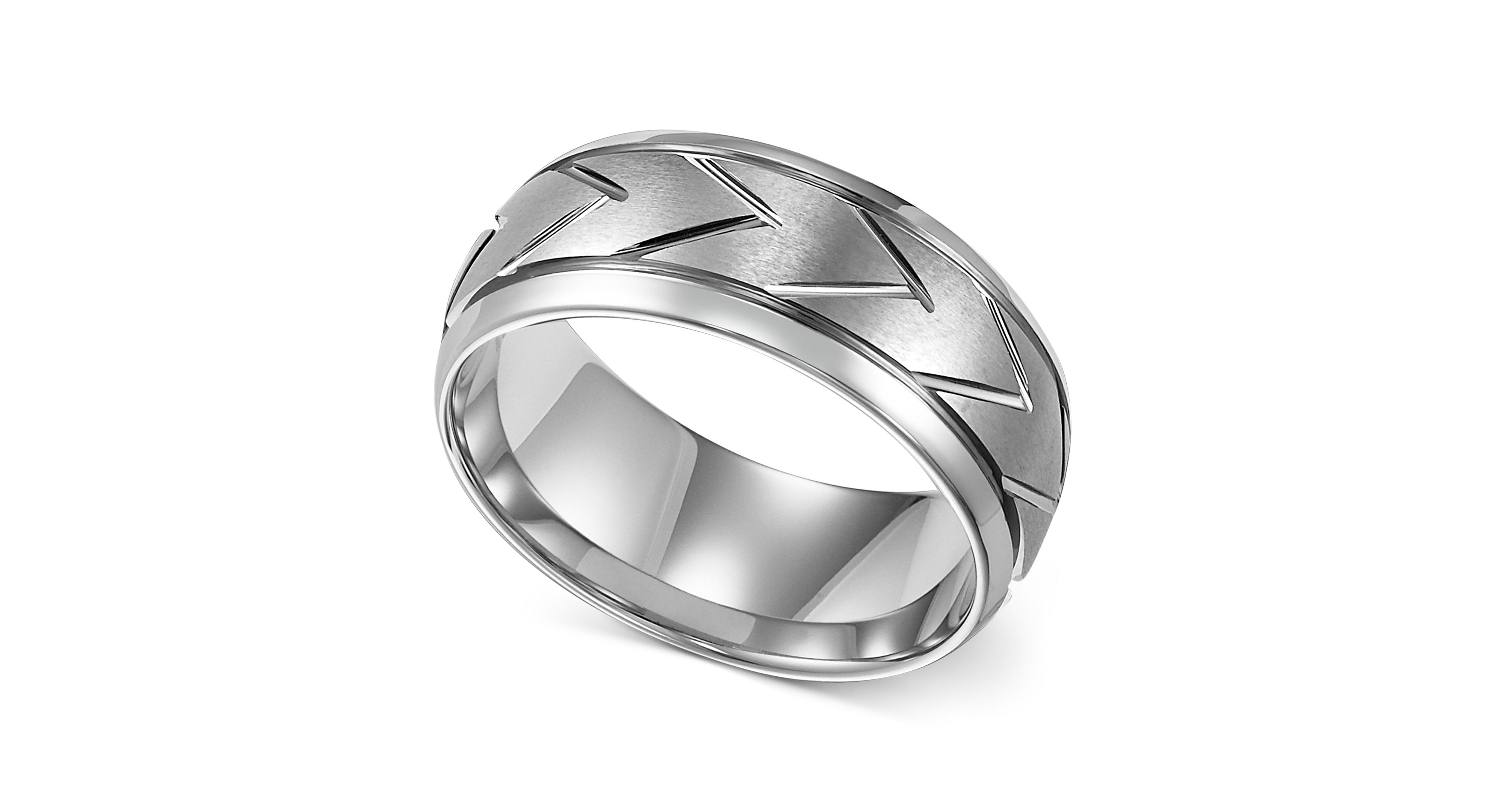 Triton Men s White Tungsten Ring 8mm Carved Chevron Wedding Band