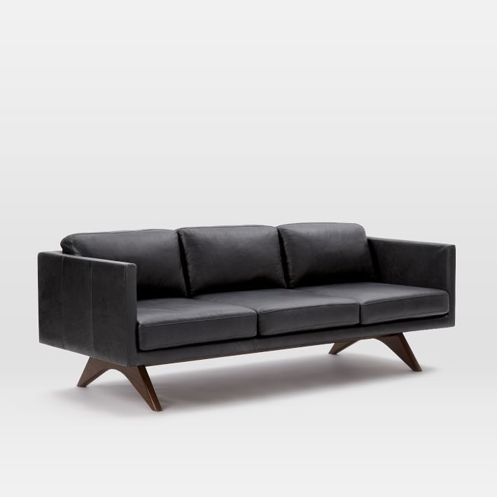 Brooklyn Down Filled Leather Sofa 81 Quot Leather Sofa Black