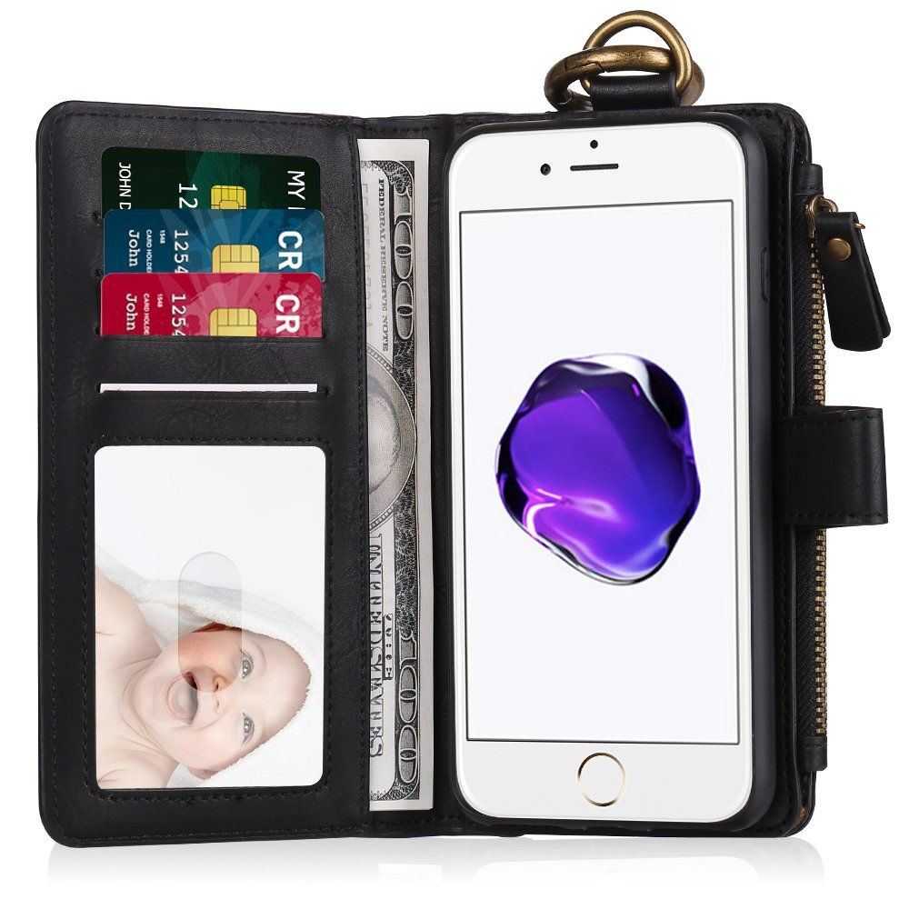 Hiciecoo iphone 7 plus faux leather wallet flip folio case